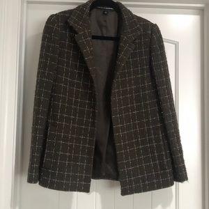 Linda Allard for Ellen Tracy brown/white blazer